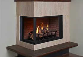 Corner Left - H Series Logs & HL Series Glass Stones Fireplace