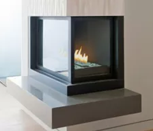 Corner Right - H Series Logs & HL Series Glass Stones Fireplace