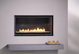 L Series - Linear - Glass Stones Fireplace