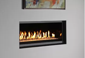 P Series - Linear - Glass Stones Fireplace