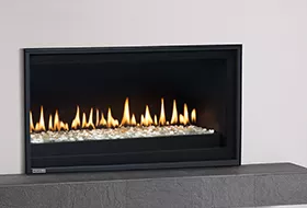 PL Series - Linear - Glass Stones Fireplace