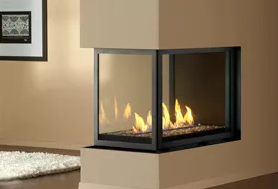 Peninsula - H Series Logs & HL Series Glass Stones Fireplace