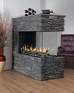 Peninsula - R Series Glass Stones Fireplace
